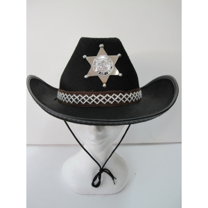 Black Cowboy Hat with Sheriff Badge