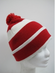 Red and White Striped Beanie - Hats