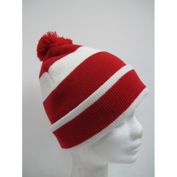 Red And White Striped Beanie Hats
