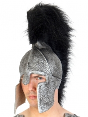 Troy Helmet Silver Black Plumage - Hats