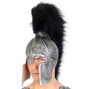 Troy Helmet Silver Black Plumage - Hats