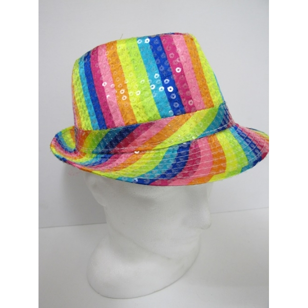 Rainbow Sequin Trilby Hat