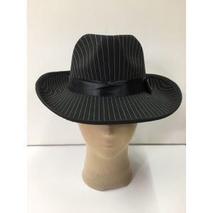 Black Trilby with White Strip - Hat