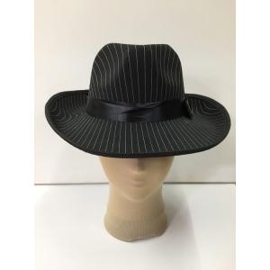 Black Trilby with White Strip - Hat