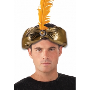 Gold Turban with Feather - Hats