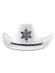 Cowboy Hat White with Woven Band and Badge