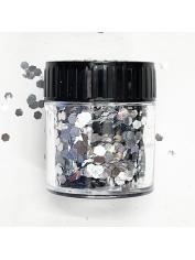 Hexagonal Glitter Silver - Face Paint and Glitter