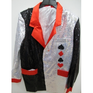 Silver and Black Sequin Jacket - Mens Costumes