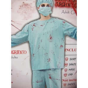 Green Doctor Costume with Blood - Halloween Mens Costumes