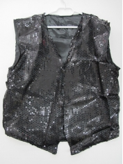 Black Sequin Vest - Mens Costumes