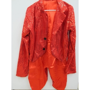 Red Sequin tailcoat - Adult Costume