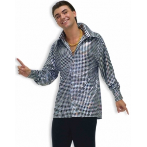 Silver Disco Shirt - Adult Mens Costume
