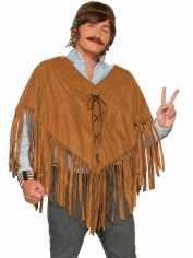 Faux Suede Poncho - Hippie Costumes