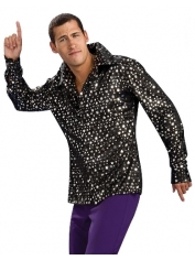 Black with Silver Stars - Disco Shirt