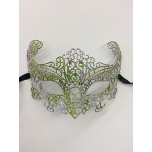 Green and Silver Glitter - Masquerade Masks