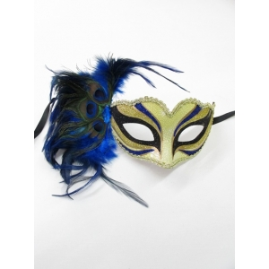 Blue Print with Blue Feathers - Mardi Gra Masks