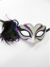 Purple Print with Feathers - Mardi Gra Masks