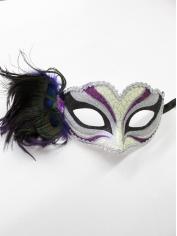Purple Print with Feathers - Mardi Gra Masks