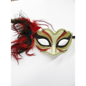 Red Print with Feathers - Mardi Gra Masks