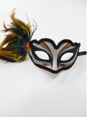 Yellow Print with Feathers - Mardi Gra Masks