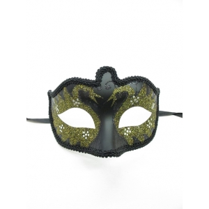 Black with Gold Glitter - Masquerade Masks