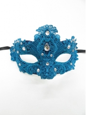 Light Blue Lace Eye Mask - Masquerade Masks
