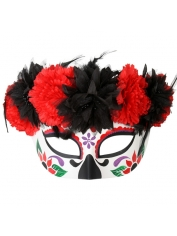 Day Of The Dead Half Flower Top - Halloween Mask