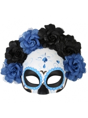Day Of The Dead Mask Flower Top Blue - Halloween Masks