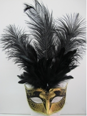 Black and Gold with Feathers - Masquerade Masks