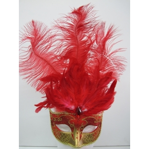 Red and Gold with Feathers - Masquerade Masks