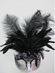 Black and Silver with Feathers - Masquerade Masks