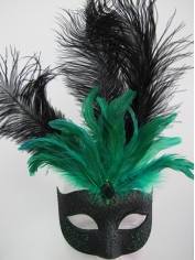 Black and Green with Feathers - Masquerade Masks