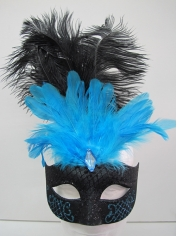 Black and Blue with Feathers - Masquerade Masks