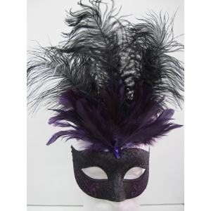 Black and Purple with Feathers - Masquerade Masks