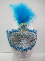 Blue Mask With Fearthers - Masquerade Masks