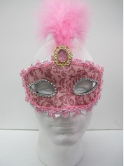 Pink Mask With Fearthers - Masquerade Masks