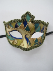 Green Blue Gold Mask - Masquerade Masks
