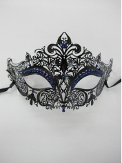 Metal Eye Mask with Blue Jewels