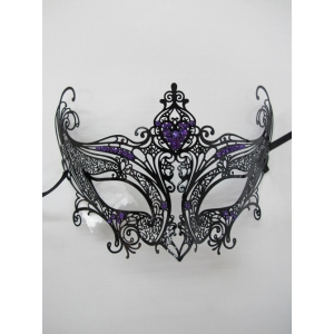 Luxury Metal Eye Mask with Purple Jewels