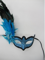 Blue Mask with Long Feathers - Mardi Gra Masks