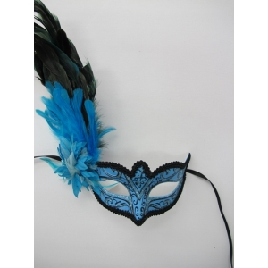 Blue Mask with Long Feathers - Mardi Gra Masks