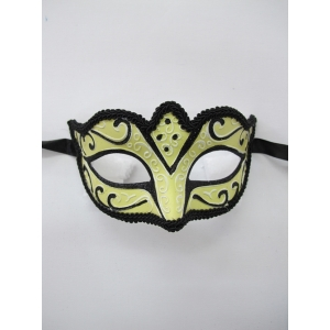 Cream Eye Mask with Black Trim - Masquerade Masks