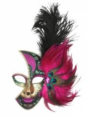 Feather Mask Pink - Mardi Gras Masks