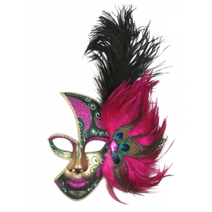 Feather Mask Pink - Mardi Gras Masks