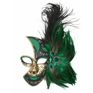 Feather Mask Green - Mardi Gras Masks