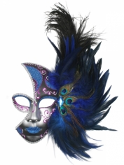 Feather Mask Blue - Mardi Gras Masks