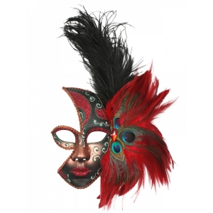 Feather Mask Red - Mardi Gras Masks