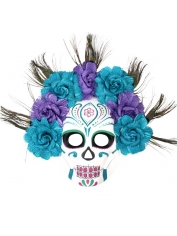Sugar Skull Mask Purple Flowers