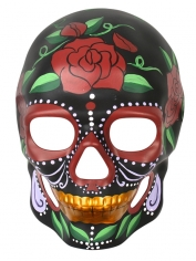 Day of the Dead Black with Painted Roses Mask