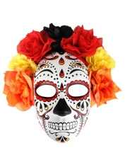 Day Of The Dead Mask Flower Top Red - Halloween Masks